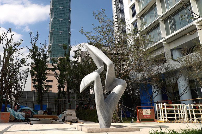 Arete, a monumental marble sculpture by Richard Erdman, Taipei, Taiwan