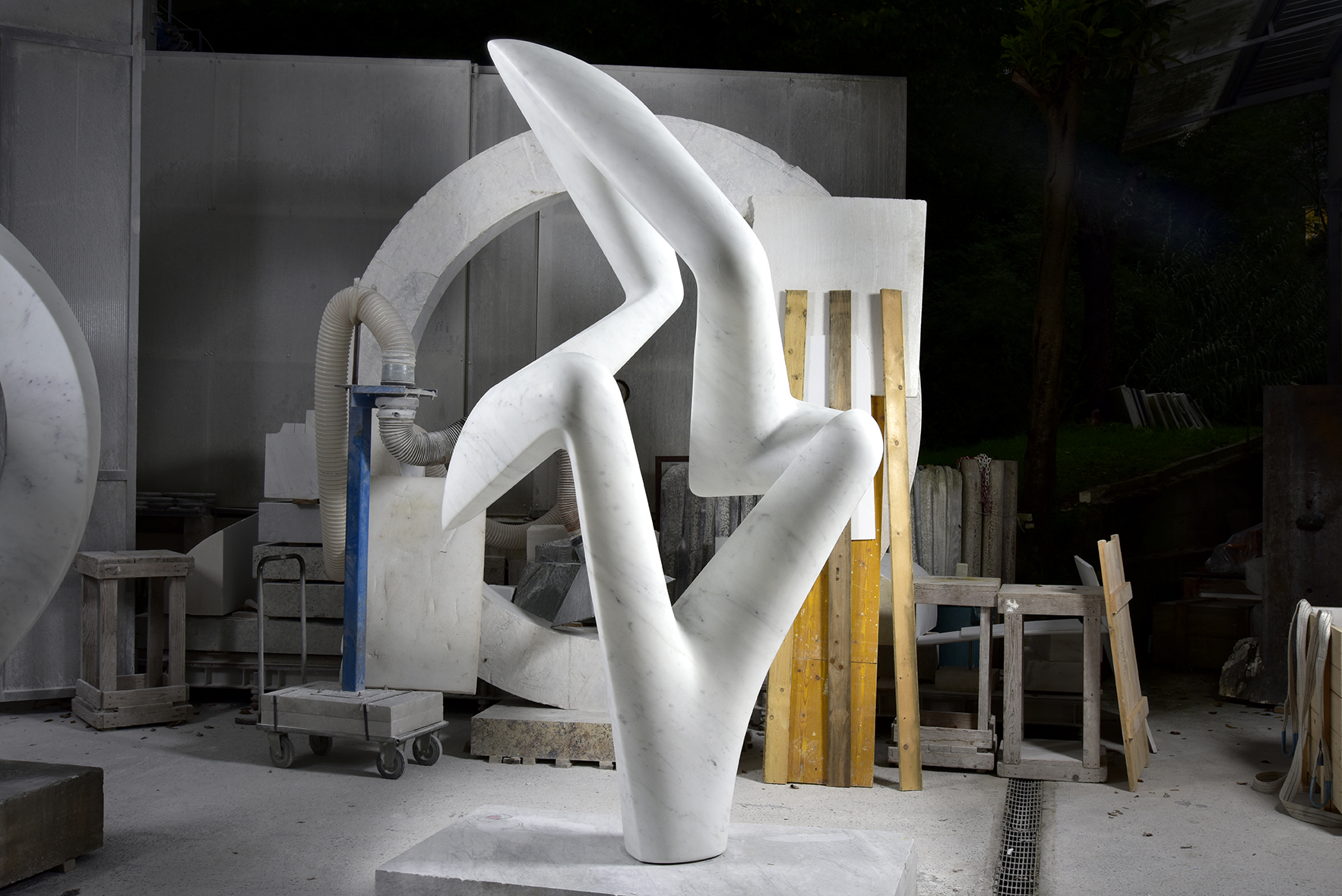 Arete, Carrara marble, 95 x 48 x 32 inches